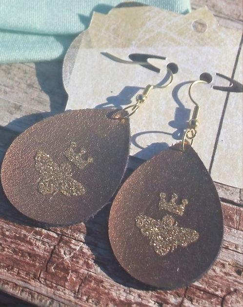 Chocolate Queen Bee Earrings