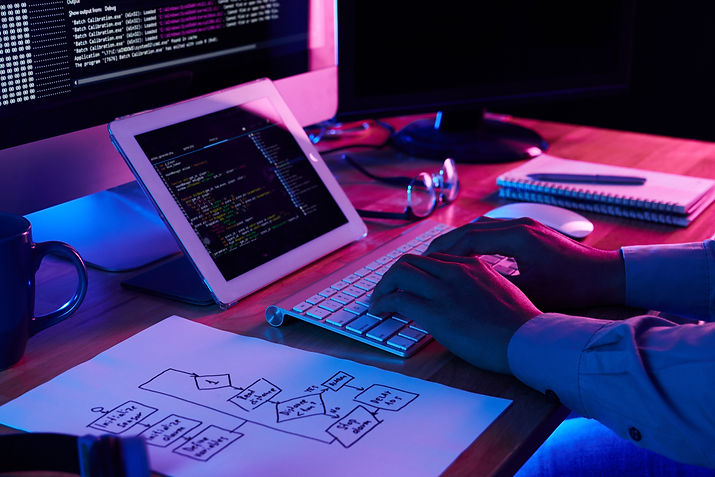 close-up-image-programer-working-his-des