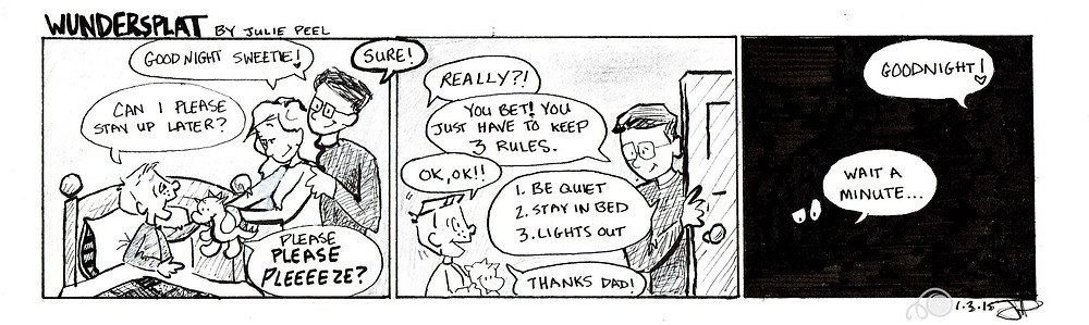 Humorous Wundersplat comic where Zack tries to stay up late and gets outsmarted by his parents.