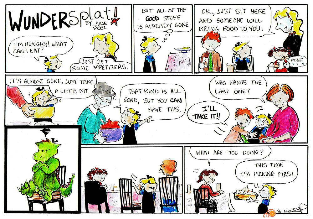 Funnies-Wundersplat Comic- It's tough to sit at the kids table during a holiday meal.