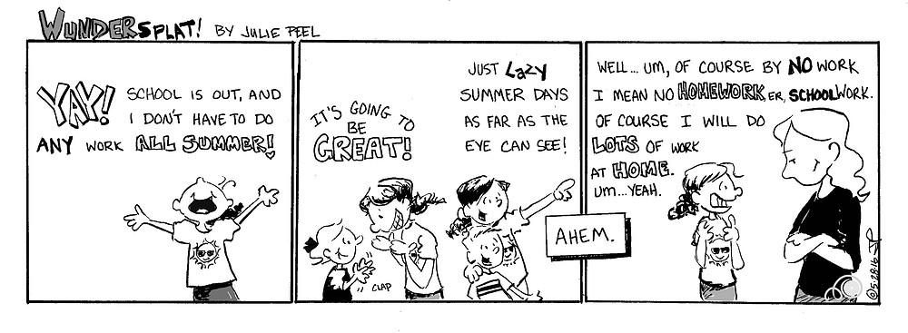 Humor-Funny Wundersplat comic- Homework vs. home work.