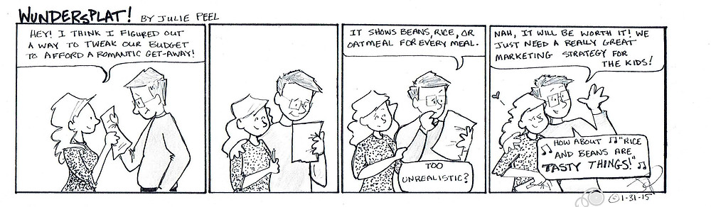 Funny Wundersplat comic-The parents want to save money for a romantic getaway, now they just need to get the kids on board with their plan.