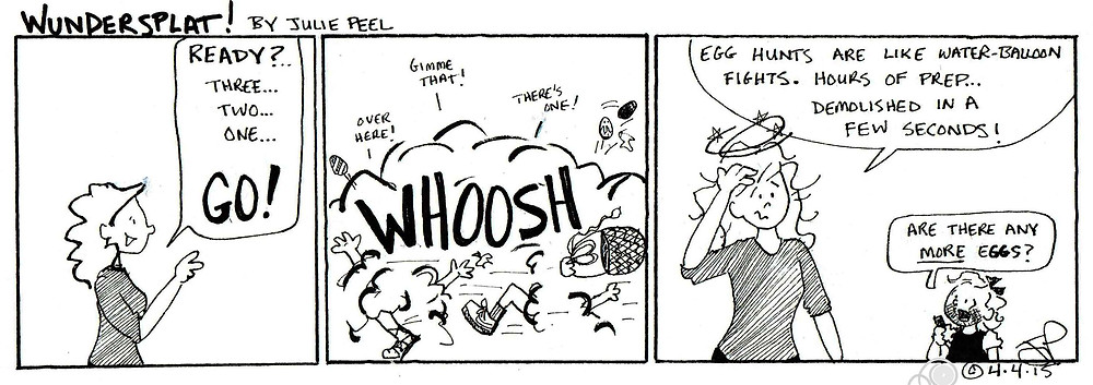 Wundersplat Comic- What do egg hunts and water-balloon fights have in common?