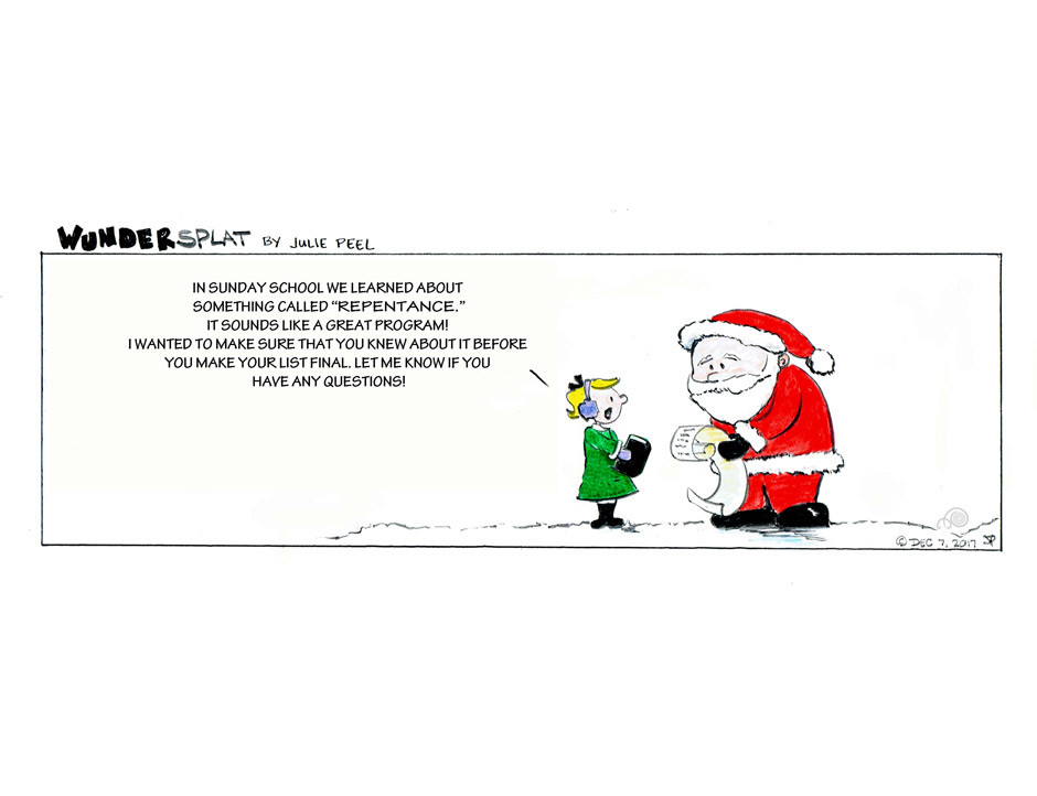 Funny Wundersplat Comic-Santa and his Christmas list, parenting, repentance