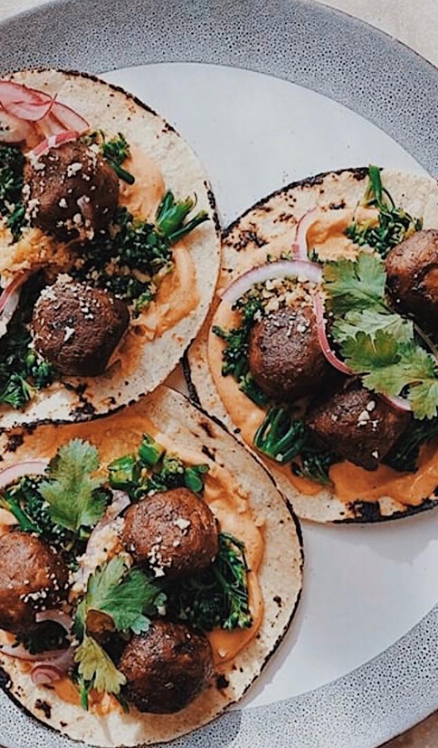 Meatball Tacos with Broccolini Salsa & Smoky Chipotle