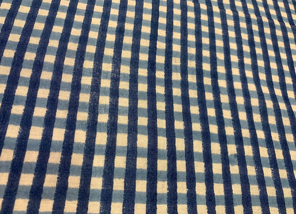Custom made Hand block Printed cotton- blue check