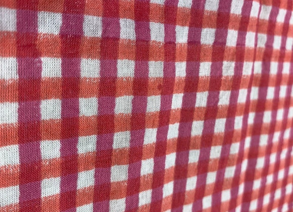 Hand block printed cotton - red pink check