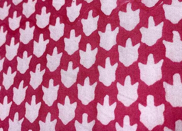 Hand Blocked Cotton - Chicken Feet - Pink