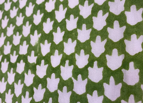 Hand Blocked Cotton - Chicken Feet - Green