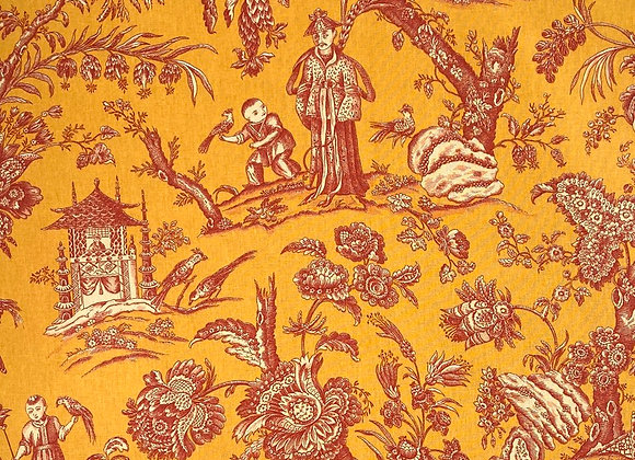 Vintage French Toile - Red and yellow