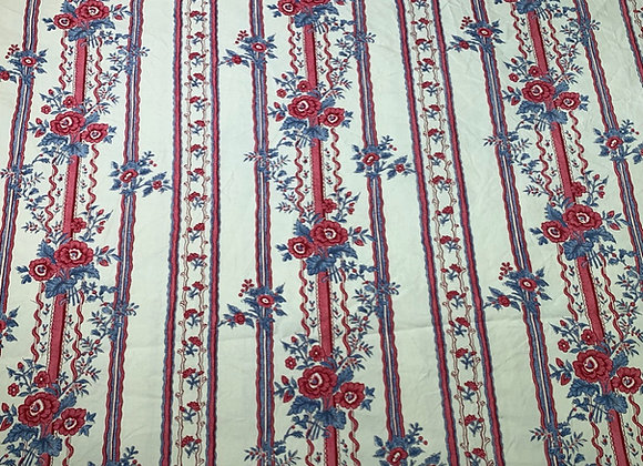 Vintage French cotton - red and blue