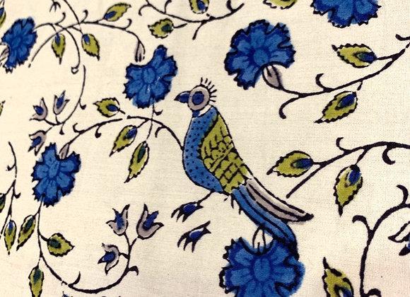 Hand Blocked Cotton - Bird Jal - Blue