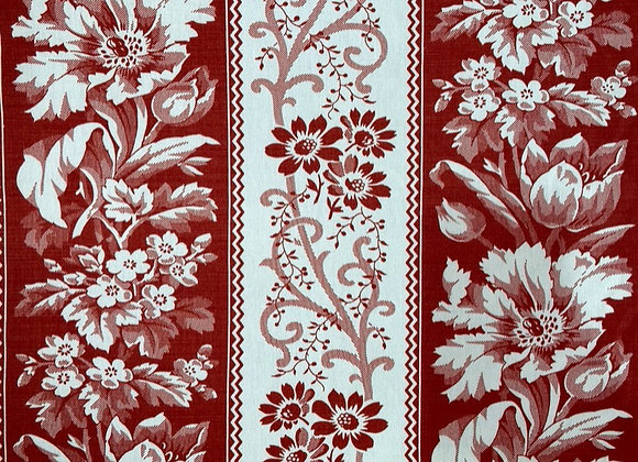 Red French Floral Stripe