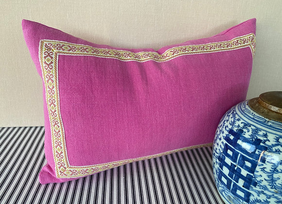 Italian Pink Linen with Vintage Embroidery Trim