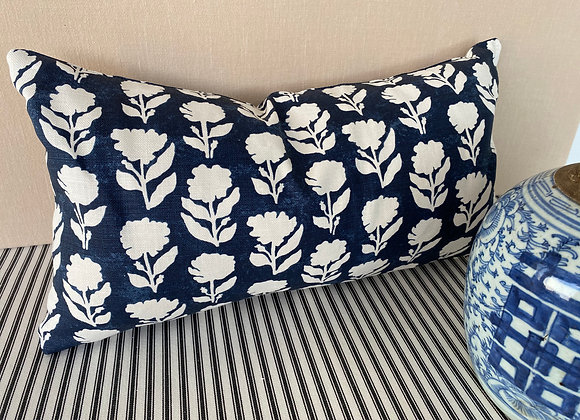 Anna Spiro Marigold Solid Navy and White Cushion