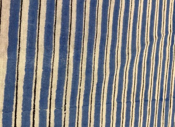 Custom made hand block printed cotton - blue stripe