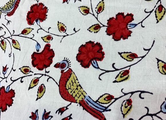 Hand Blocked Cotton - Bird Jal - Red