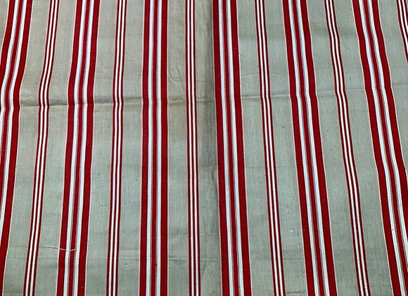 Antique French Ticking - Red & Beige