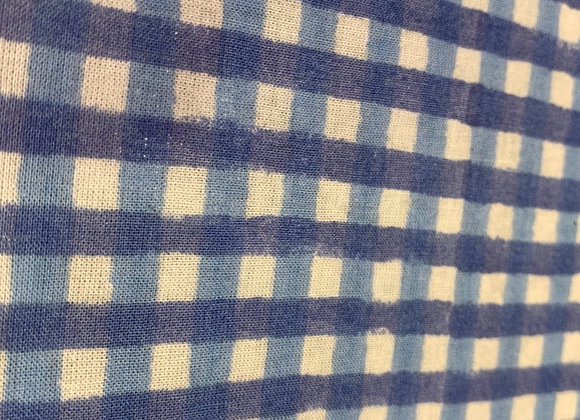 Custom hand block printed cotton - light blue check
