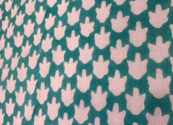 Hand Blocked Cotton - Chicken Feet - Teal