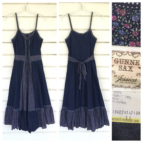 1970s GUNNE SAX DENIM + CALICO PRAIRIE DRESS