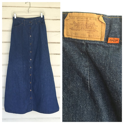 1970s LEVI'S ORANGE TAB DENIM MAXI SKIRT