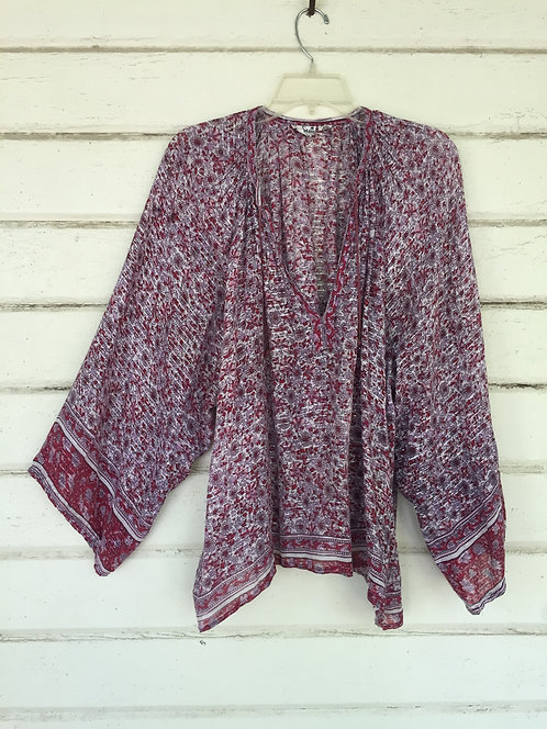 70s sheer Indian gauze batik blouse