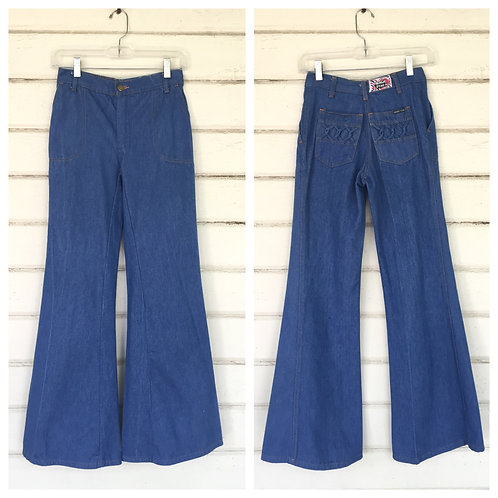 1970s HIGH WAISTED BELL BOTTOM JEANS WITH BRAIDED