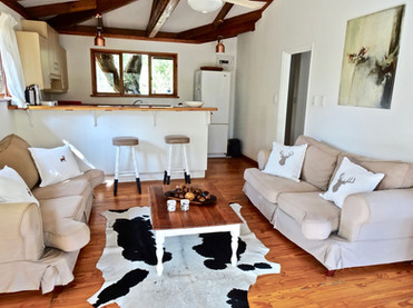 Sitting room and kitchen at Silver Sky Chalet, Imani Bush House