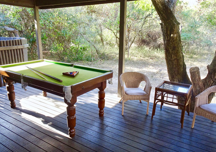 The Pool Table on back deck with drinks fridge