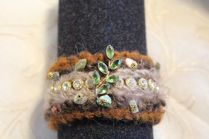 Needle Felted Alpaca Bracelet with Peridot