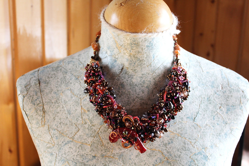 Martigras Beaded Fiber Necklace
