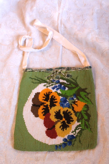 PRS03 - Cross-stitched Shetland Hand-Bag with Needle Felting