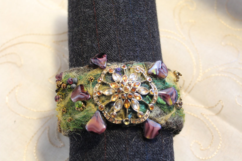 Needle Felted Alpaca Bracelet with Antique Pin