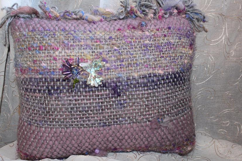 Hand Spun Yarn & Woven Pillow