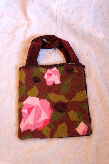 Cross-stitched Shetland Hand Bag with Needle Felting