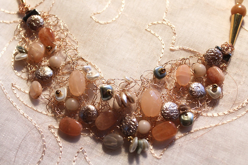 Aventurine, Shell & Crocheted Metal