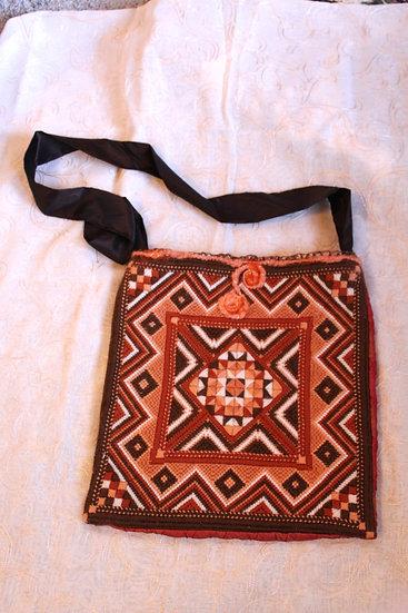 Cross-stitched Shetland Hand-Bag with Needle Felting