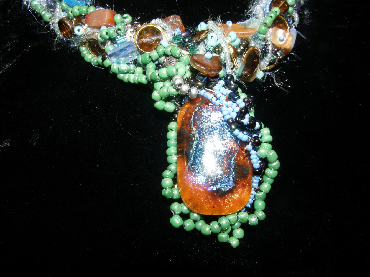 Dichroic & Carnelian Necklace
