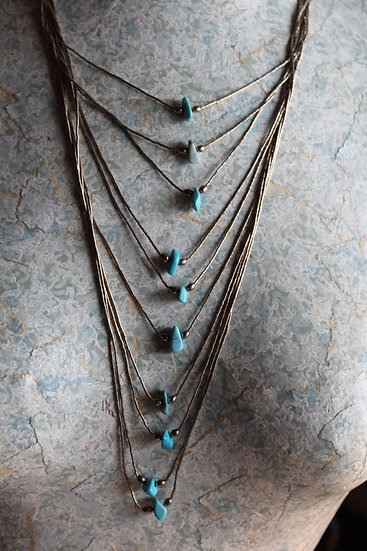 Native American Silver& Turquoise Teardrop Necklace