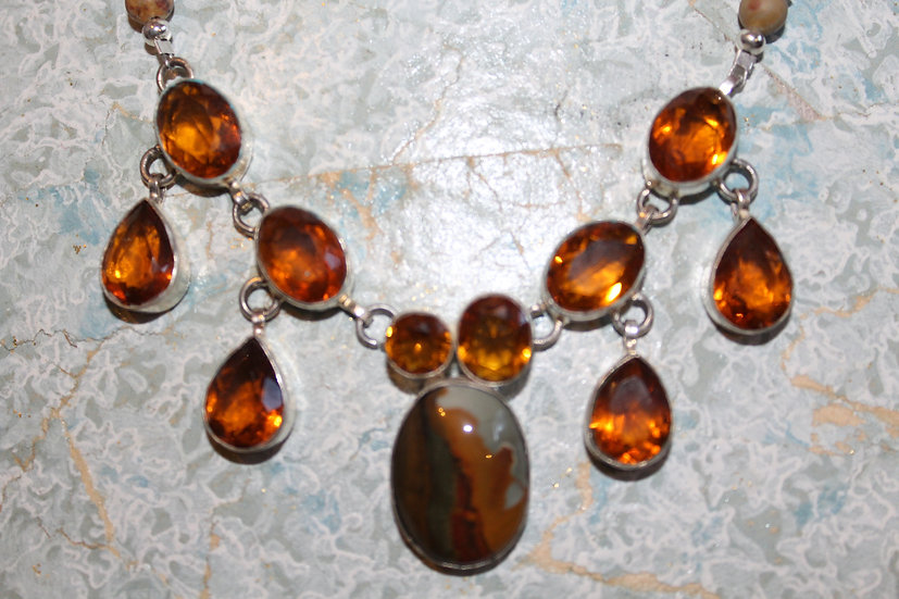 Citrine Glass & Ocean Jasper in Silver