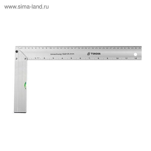 Угольник алюминиевый с уровнем TUNDRA, 350 мм