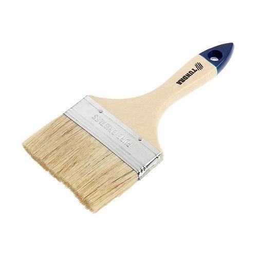 """Кисть плоская TUNDRA, натуральная щетина, деревянная ручка, 4"""", 100 мм."""