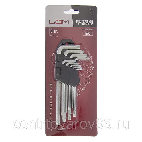 Набор ключей шестигранных LOM, TORX Tamper, удлиненных, TT10-TT50, 9 шт.