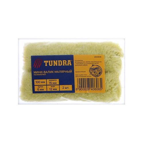 Валик-мини сменный TUNDRA, полиакрил, 100 мм, ручка d=6 мм, D=15, ворс 12 мм