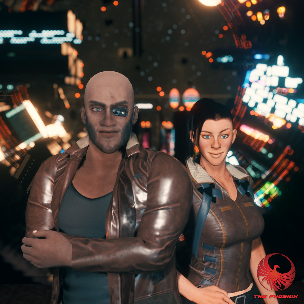 Two characters from The Phoenix vr series post together in front of a window with lights in the background