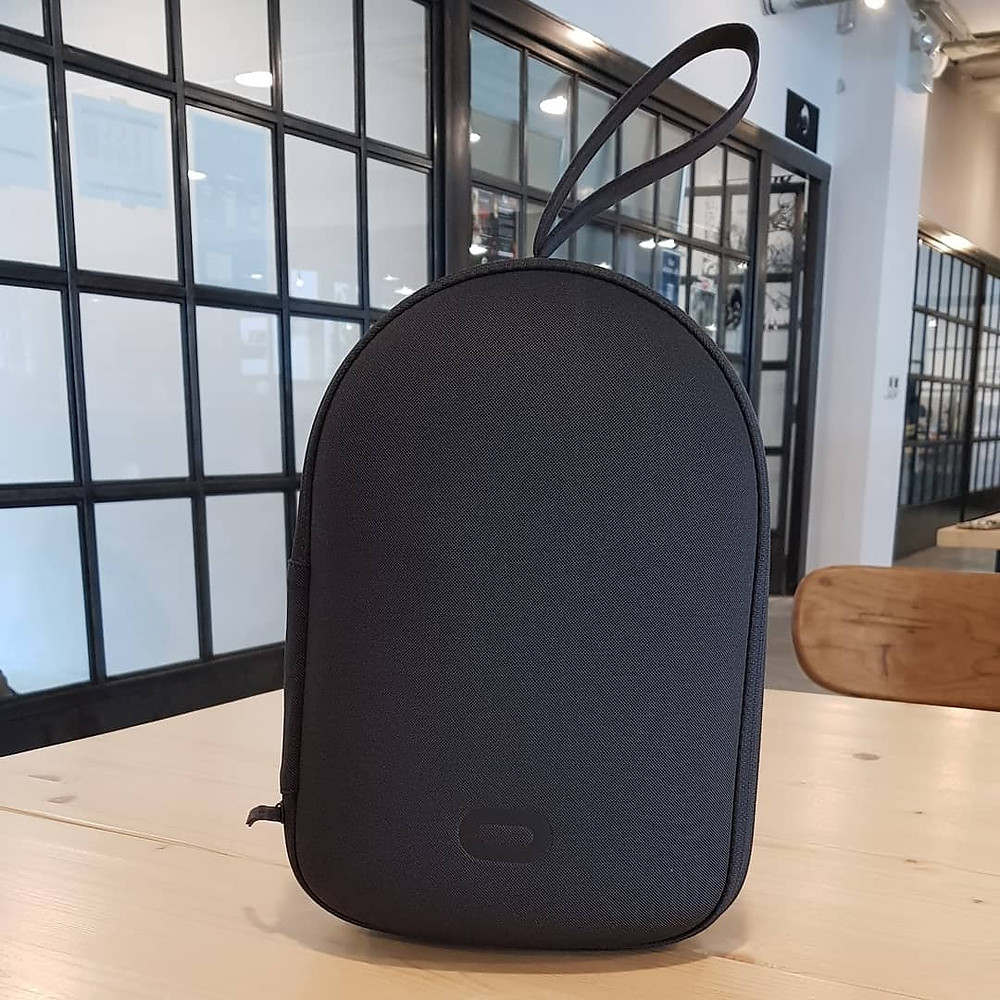 The Oculus Quest carrying case on a desk in an office