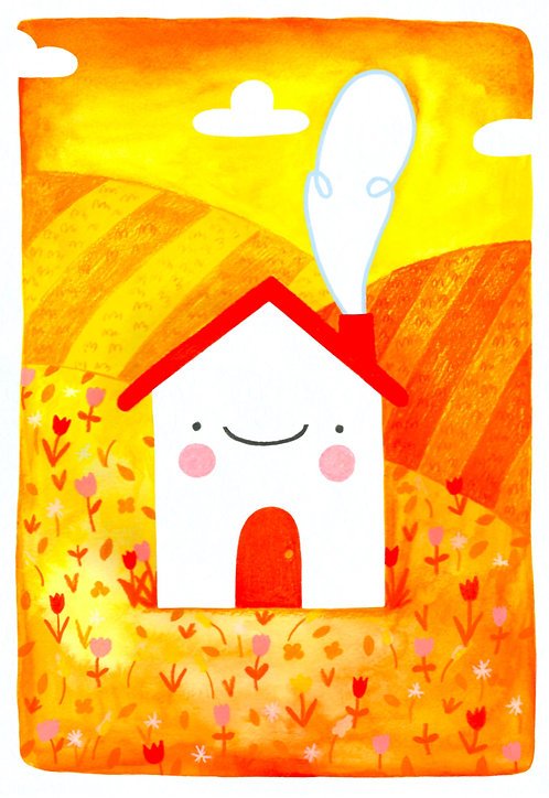 Happy House On A Hill - A4 Print