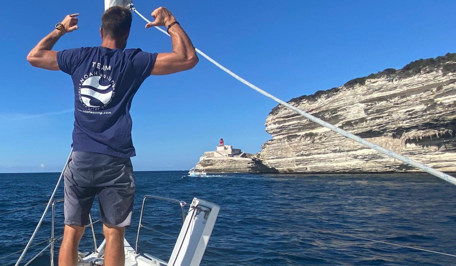 Noah sailing charter crew.