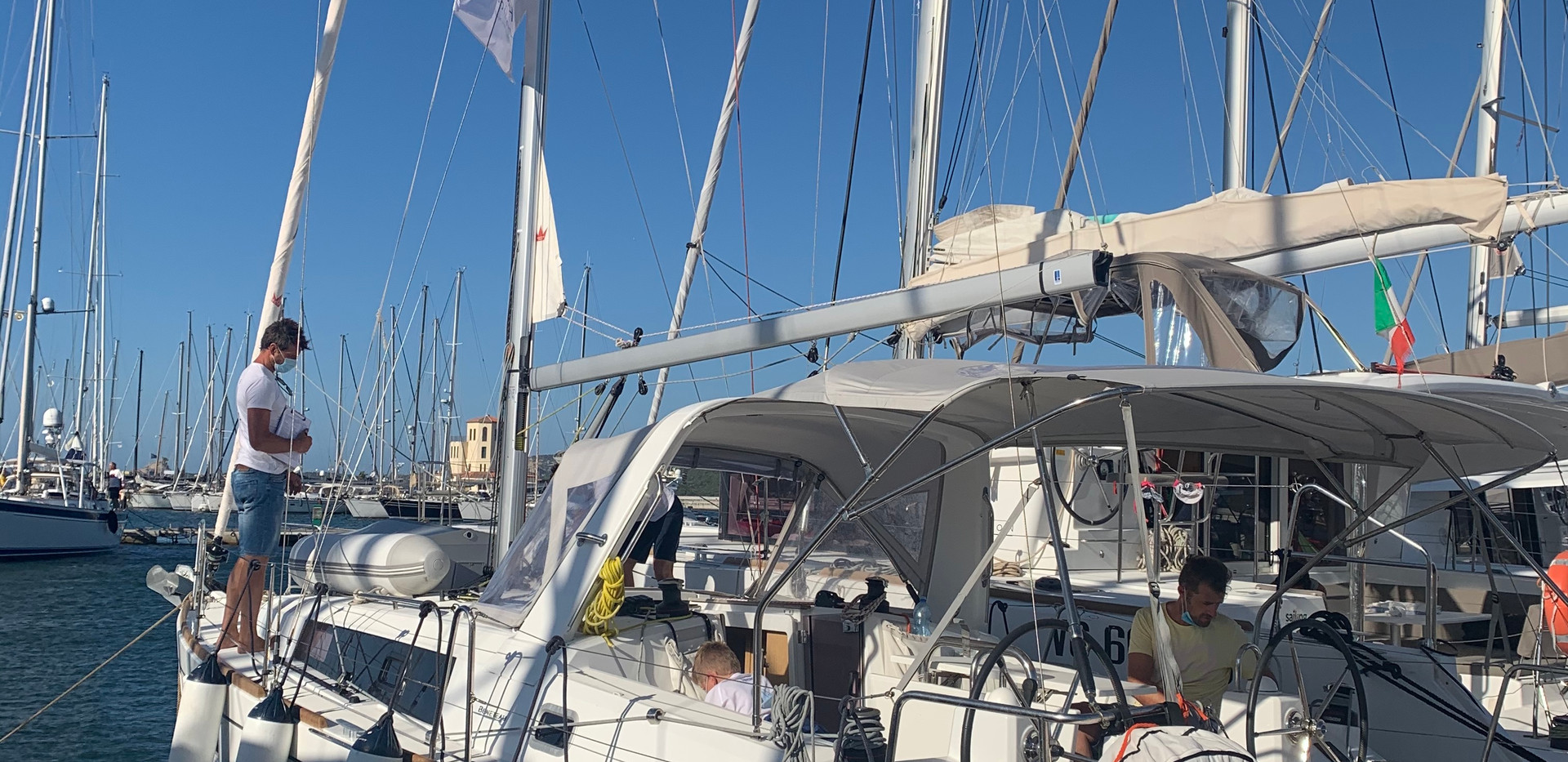Sailing charter. Check-out process.